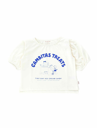 Tiny Cottons Gambitas Treats Blouse (Off-white/Iris Blue)