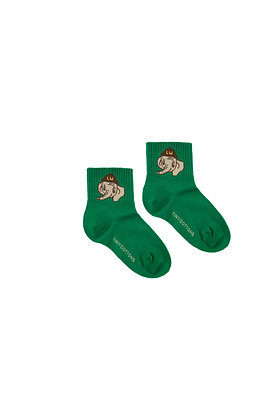 Tiny Cottons 'Luckyphant' Medium Socks (Deep Green/Sand)
