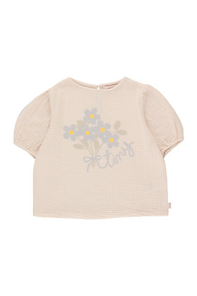Tiny Cottons Tiny Flowers Puff Shirt (Light Cream)