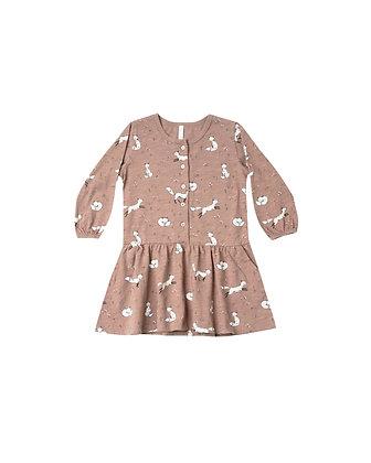 Rylee + Cru Winter Fox Button Up Dress (Truffle)