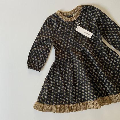 Caramel Crane Dress (Black/Yellow Small Floral)