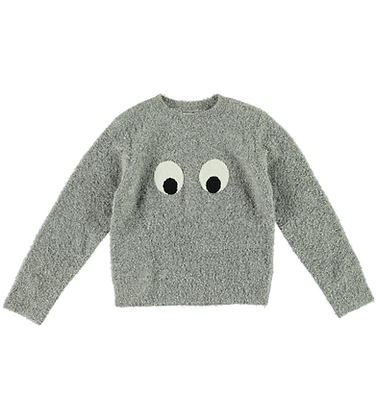 Stella McCartney Kid Unisex Knit Sweater With Eyes (Gray)