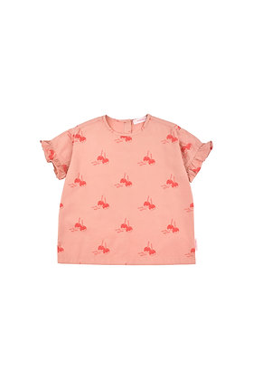 Tiny Cottons 'CANDY APPLES' Frills Blouse (Terracotta/Red)