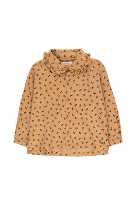 Tiny Cottons 'Tiny Flowers' Shirt (Light Brown/Dark Green)