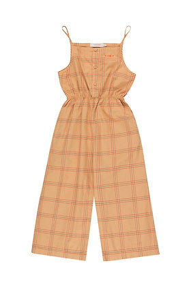 Tiny Cottons Check Jumpsuit (Toffee/Red)