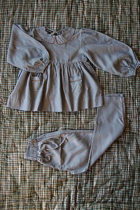 Bonjour Diary Girl Pajama Set with Bag  (Blue Check)