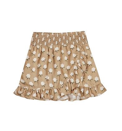 Rylee + Cru White Flora Wrap Ruffle Skirt (Almond)