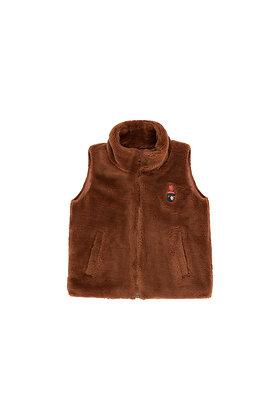 Tiny Cottons Faux Fur Vest (Dark Brown)