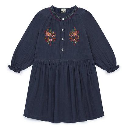 Bonton/Bonbon Embroidered Dress (Gris Mistigri)