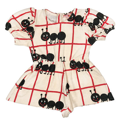 Hugo Loves Tiki Terry Puff Sleeve Romper (Picnic Ants)