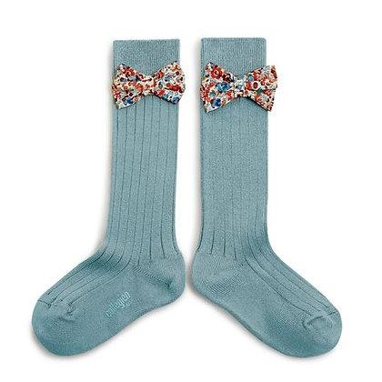 Collégien Liberty Bow Knee-High Socks (No. 803 Bleu Azur)