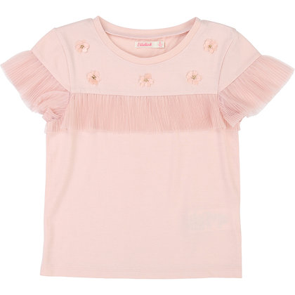 Billieblush Jersey Tee With Mesh Flounce and Floral Embroidery (Pink)