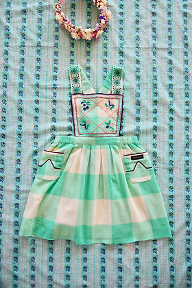 Bonjour Reina Dress with New Embroidery  (Vichy Mint Check)