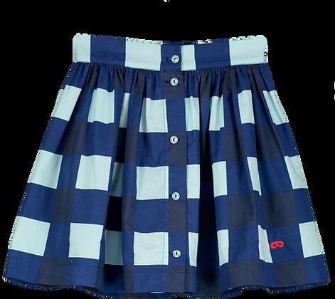Beau Loves Button Skirt (Navy/Gingham)