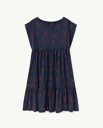 The Animals Observatory Robin Kids Dress (Blue Circles)
