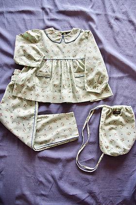 Bonjour Girl Pajama Set + Bag  (Mint Flowers)