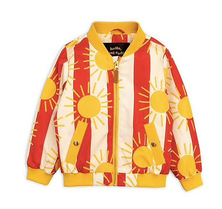 Mini Rodini Sun Stripe Baseball Jacket (Red)
