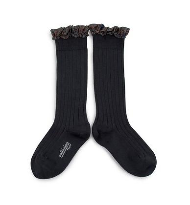 Collégien Liberty Ruffle Knee-High Socks (No. 783 Pierre de Volvic)