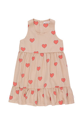 """Tiny Cottons """"Hearts"""" Dress (Light Nude/Red)"""