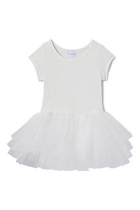 Plum Short Sleeve Tutu Dress (Lucy White)