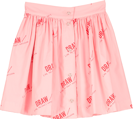 Beau Loves Button Skirt (Washed Pink/Draw)