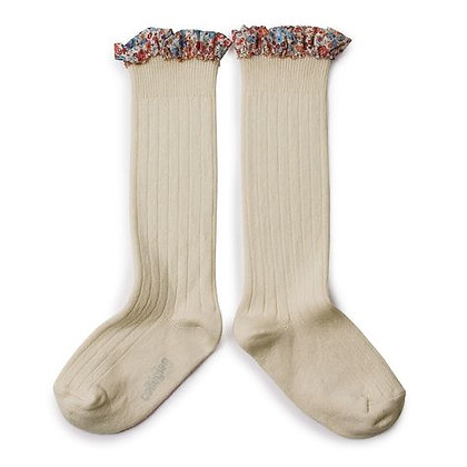 Collégien Liberty Ruffle Knee-High Socks (No. 037 Doux Agneaux)