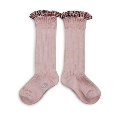 Collégien Liberty Ruffle Knee-High Socks (No.331 Vieux Rose)