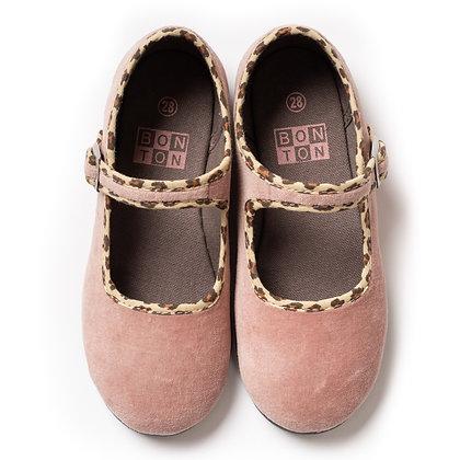 Bonton/Bonbon Plain Buckle Slippers (Beige Rose)