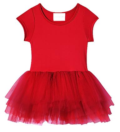 Plum Short Sleeve Tutu Dress (Rosie Red)