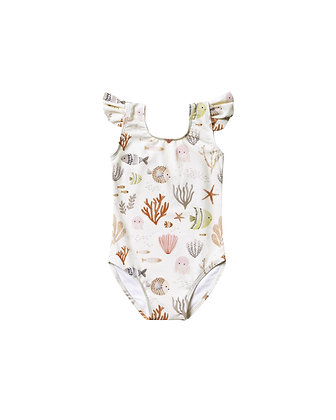 Rylee + Cru Sea Life Frill Onepiece Swimsuit (Ivory)