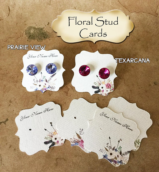 60•2 x 2•Floral•EARRING Cards•Jewelry Card•Post Earring Card•STUD 5