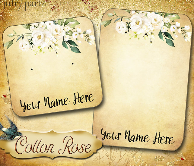 60•COTTON ROSE 3•Necklace Card•Earring Cards•Jewelry Cards•Display Card