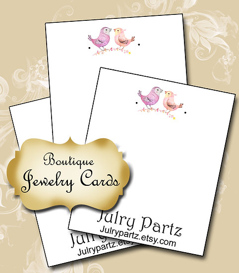 2 BIRDS•Custom Cards•Labels•Earring Display•Clothing Tags