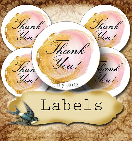 PREMADE •60 Custom 1.5 x 1.5 Round STICKERS•Round Labels•Pink & Gold Circle