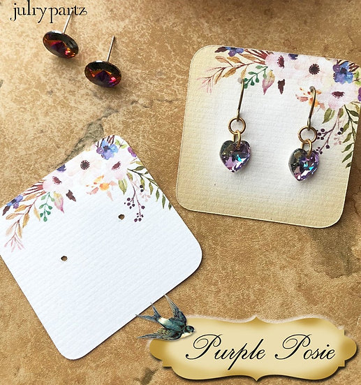 60•PURPLE POSIE•Necklace Card•Earring Cards•Jewelry Cards•Display Car
