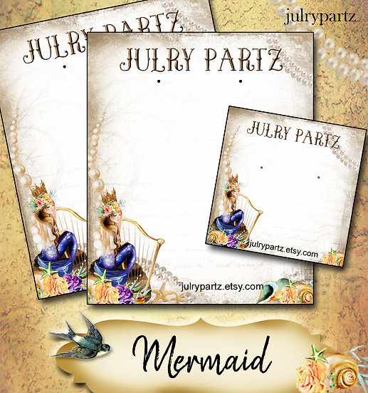 MERMAID•Custom Cards•Labels•Earring Display•Clothing Tags