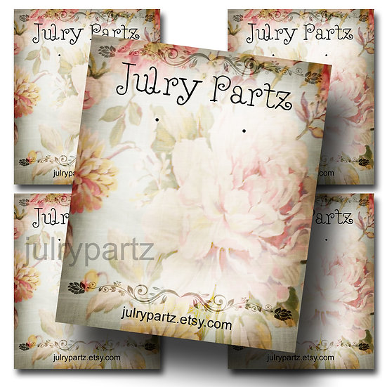 SHABBY CHIC #11•Custom Cards•Labels•Earring Display•Clothing Tags