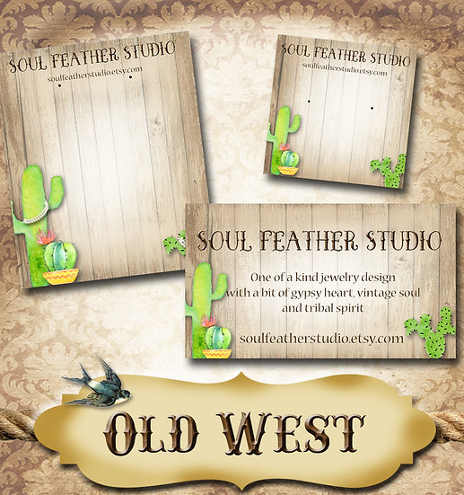 OLD WEST•Custom Cards•Labels•Earring Display•Clothing Tags
