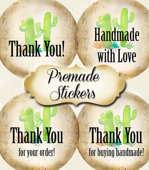 PREMADE •60 Custom 1.5 x 1.5 Round STICKERS•Round Labels•DOUBLE CACTUS