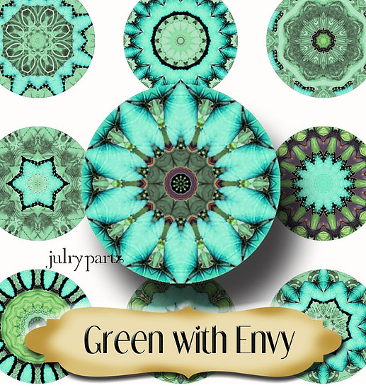 GREEN WITH ENVY •1x1 Circle Images•Printable Digital Images•Mandala