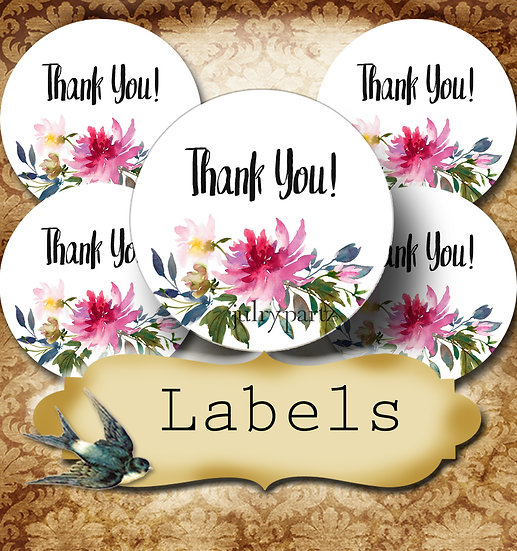 PREMADE •60 Custom 1.5 x 1.5 Round STICKERS•Round Labels•WATERCOLOR FLORAL 1