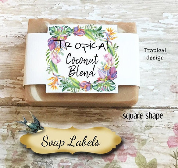 "36•SQUARE ""Tropical""Custom SOAP Labels•Soap Packaging•Bar Soap Label"