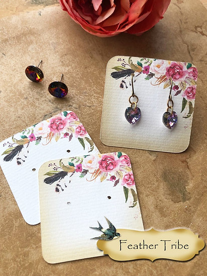 FEATHER TRIBE Top•Necklace Card•Earring Cards•Jewelry Cards•Display Car