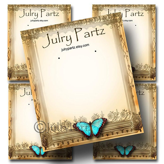 TEAL BUTTERFLY•Custom Cards•Labels•Earring Display•Clothing Tags