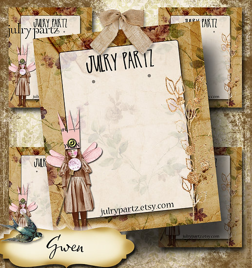 GWEN•Custom Cards•Labels•Earring Display•Clothing Tags