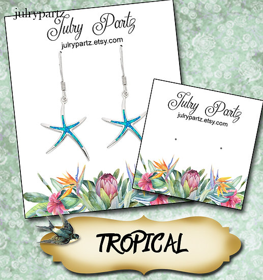 TROPICAL #1•Custom Cards•Labels•Earring Display•Clothing Tags