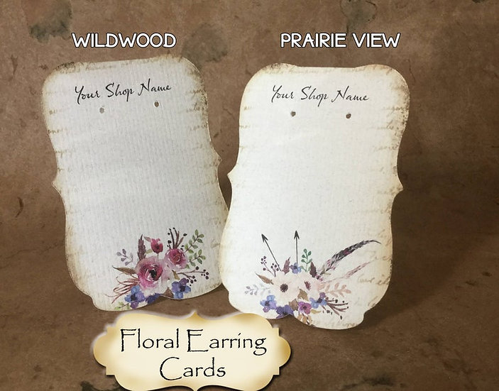 """36•Zoe•PRAIRIEVIEW•2.5 x 3.5"""" Tent Cards•Earring Card•Jewelry Cards"""