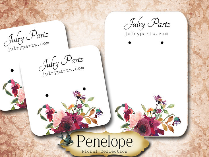 PENELOPE •Necklace Card• Earring Cards •Jewelry Cards •Display CARD