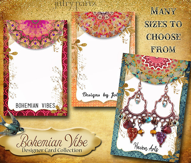 BOHEMIAN VIBES•Designer Card Collection•Custom Tags•Labels•Earring Display