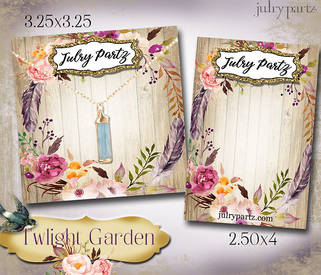 TWILIGHT GARDEN•Custom Cards•Labels•Earring Display•Clothing Tags